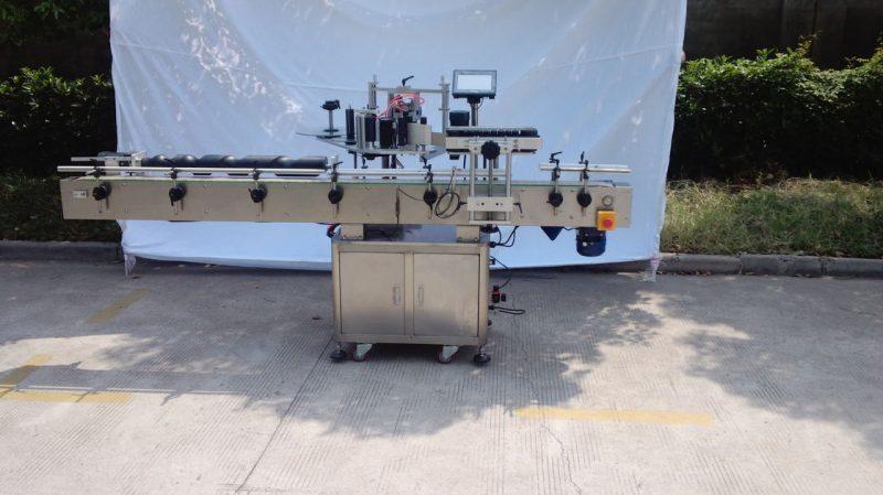 Kina Automatisk rund flaskmärkningsmaskin för icke-torrt lim, träväska / exportförpackningsmärkningsmaskin för CE-leverantör