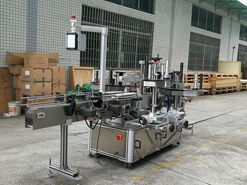 Kina CE-glasflaskmärkningsmaskin, etiketteringsmaskiner för fram- och baksida för runda glasflaskor leverantör