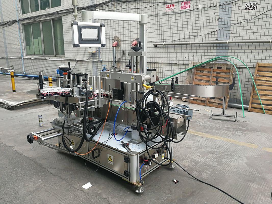 Helautomatisk självhäftande flaskmärkningsmaskin med dubbel sida med kodare