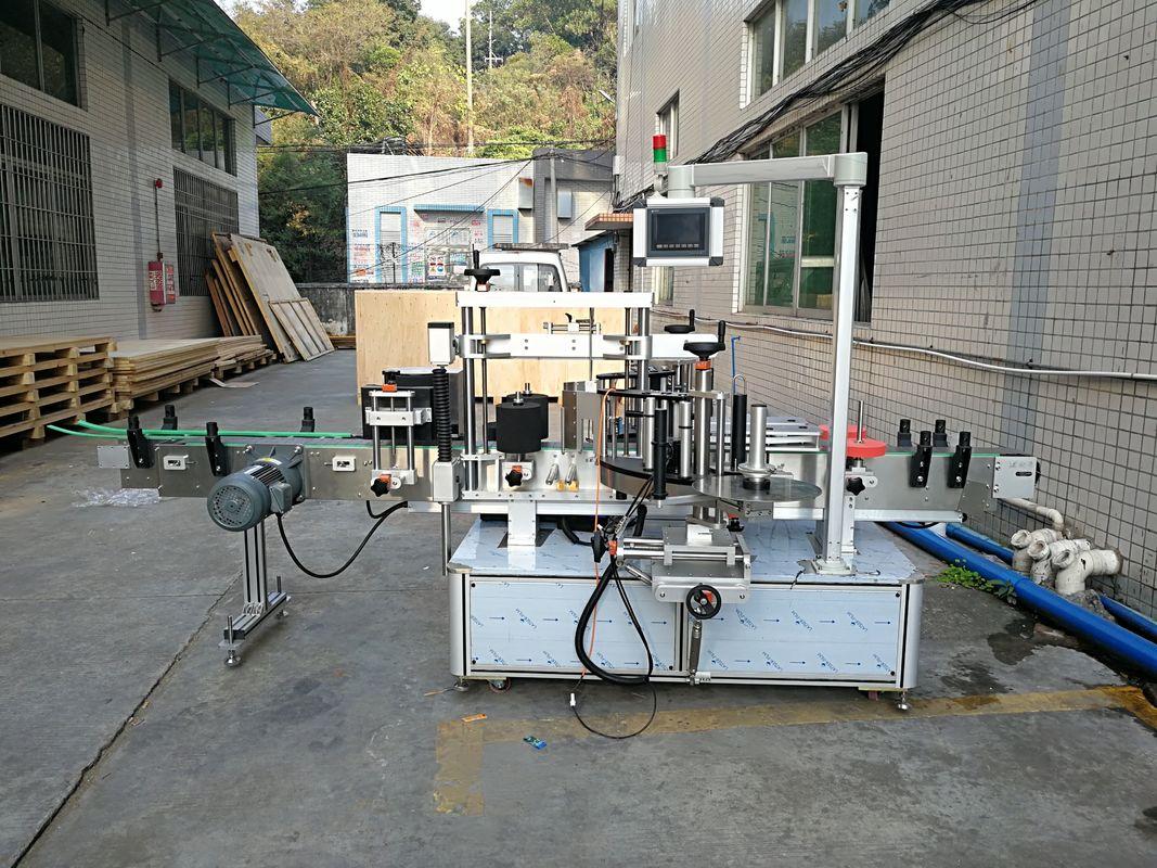 Automatisk klistermärke platt flaskmärkning maskin integrerad fram och bak